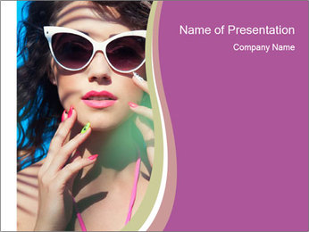 Colorful summer portrait of young attractive brunette woman PowerPoint Template - Slide 1