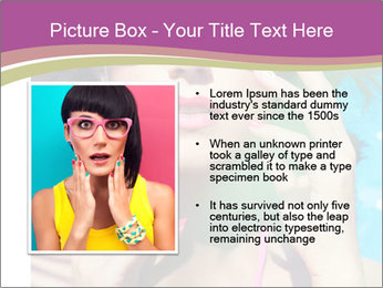 Colorful summer portrait of young attractive brunette woman PowerPoint Template - Slide 13