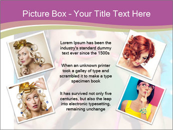 Colorful summer portrait of young attractive brunette woman PowerPoint Template - Slide 24