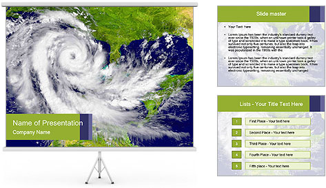 Huge hurricane PowerPoint Template