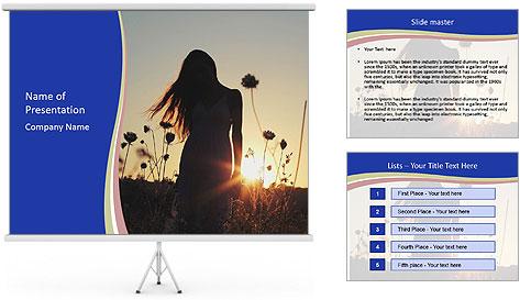 A pretty woman enjoying summer PowerPoint Template