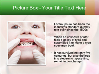 Kid patient open mouth showing caries teeth decay PowerPoint Template - Slide 13