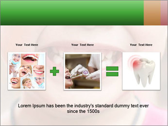Kid patient open mouth showing caries teeth decay PowerPoint Template - Slide 22