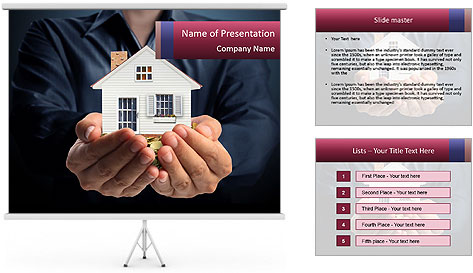 Holding house representing home PowerPoint Template