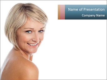 Smiling pretty woman with clean skin PowerPoint Template