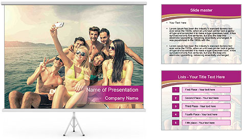 Group of friends on a boat selfie PowerPoint Template