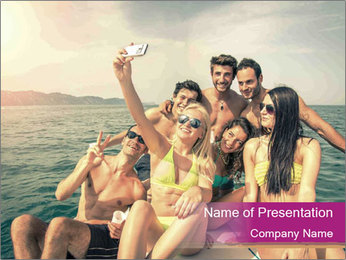 Group of friends on a boat selfie PowerPoint Template - Slide 1