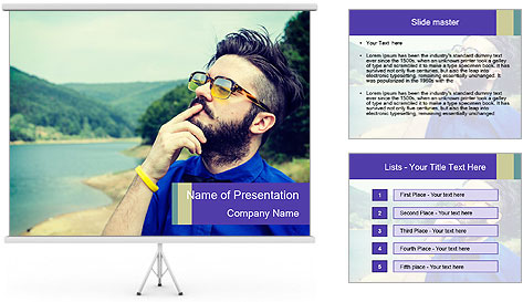 Hipster man thinking PowerPoint Template