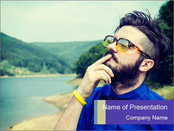 Hipster man thinking PowerPoint Template - Slide 1