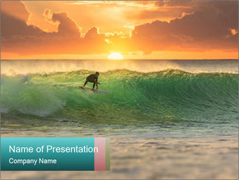 Surfer In Ocean PowerPoint Template