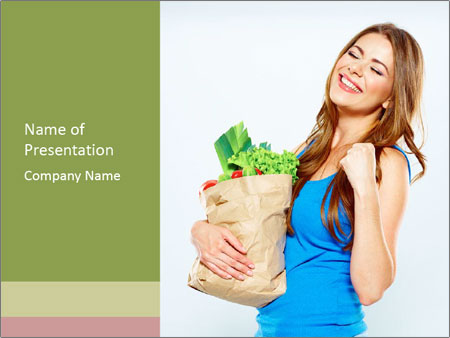Woman Holding Shopping Bag PowerPoint Template