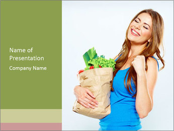 Woman Holding Shopping Bag PowerPoint Template - Slide 1
