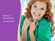 Charming Red-Haired Woman PowerPoint Template