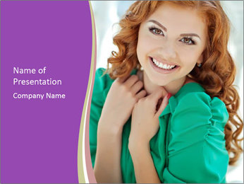 Charming Red-Haired Woman PowerPoint Template - Slide 1