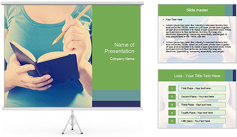 Woman Makes Notes In Notebook PowerPoint Template