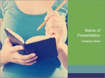 Woman Makes Notes In Notebook PowerPoint Template - Slide 1