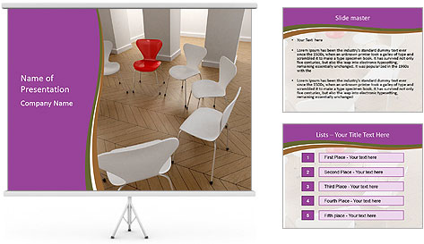 Chairs In Seminar Room PowerPoint Template