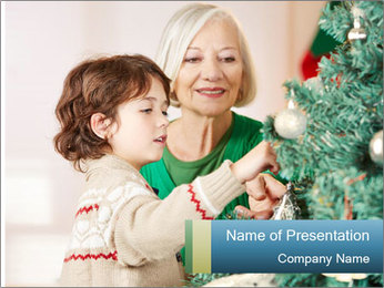 Grandmother And Granddaughter Decorate Christmas Tree PowerPoint Template - Slide 1