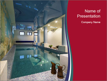 Pool Inside Mansion PowerPoint Template
