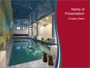 Pool Inside Mansion PowerPoint Templates
