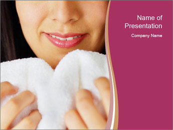 Woman With White Towel PowerPoint Template - Slide 1