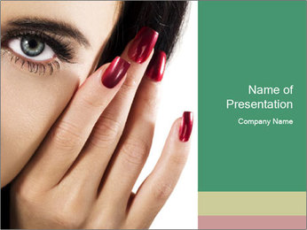 Red manicure PowerPoint Template