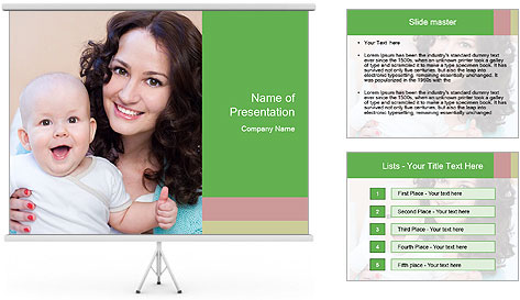 Portrait of laughing young mum together with a small son in a room PowerPoint Template