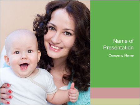 Portrait of laughing young mum together with a small son in a room PowerPoint Templates