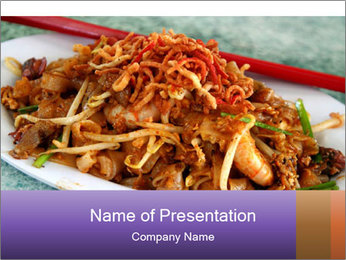 Penang Fried Noodle PowerPoint Template - Slide 1