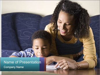A mid adult African American woman sits on a couch homework PowerPoint Template