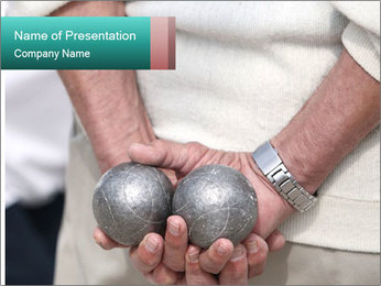 Man Holding Two Bowls PowerPoint Template - Slide 1