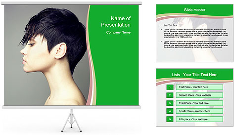 Stylish Woman With Short Haircut PowerPoint Template