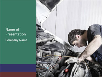 Auto mechanic repairing a car engine PowerPoint Template - Slide 1