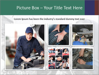 Auto mechanic repairing a car engine PowerPoint Template - Slide 19