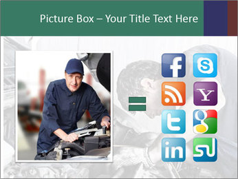 Auto mechanic repairing a car engine PowerPoint Template - Slide 21