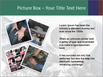 Auto mechanic repairing a car engine PowerPoint Template - Slide 23