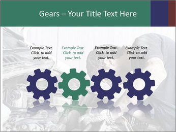 Auto mechanic repairing a car engine PowerPoint Templates - Slide 48