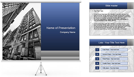 Black and white building PowerPoint Template