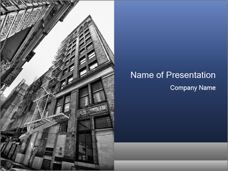 Black and white building PowerPoint Templates