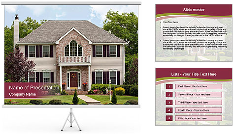 A large custom built luxury house in a residential neighborhood PowerPoint Template