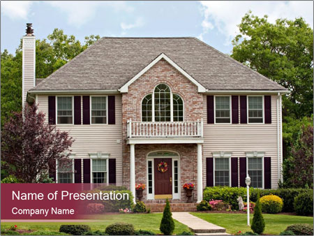 A large custom built luxury house in a residential neighborhood PowerPoint Templates