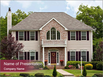 A large custom built luxury house in a residential neighborhood PowerPoint Templates - Slide 1