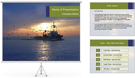 Professional fishing boat PowerPoint Template