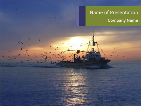 Professional fishing boat PowerPoint Templates