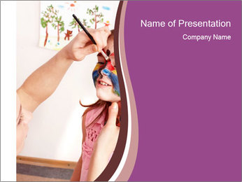 Child preschooler with face painting. PowerPoint Template - Slide 1