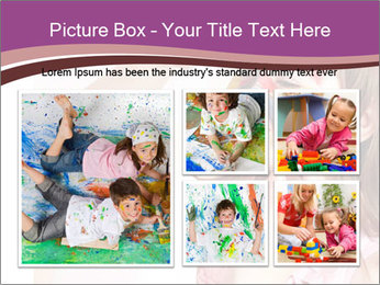 Child preschooler with face painting. PowerPoint Template - Slide 19