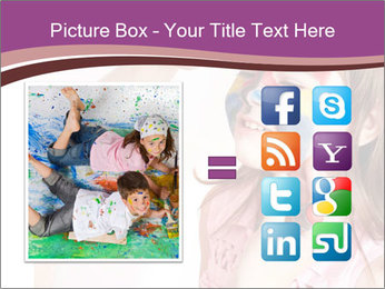 Child preschooler with face painting. PowerPoint Template - Slide 21