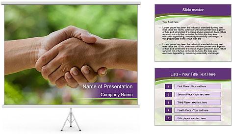 Hands shake PowerPoint Template