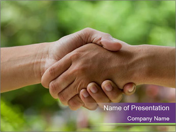 Hands shake PowerPoint Template - Slide 1