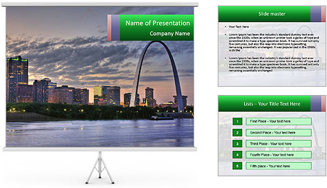 Cityscape of St. Louis Missouri at night PowerPoint Template